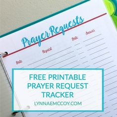 A free printable prayer request tracker for your prayer journal. Or just keep a copy folded in your Bible for when you need it.