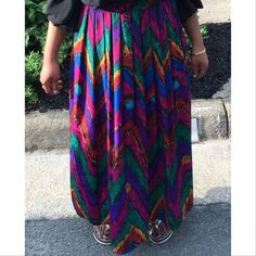 Vintage Skirt Vintage Multi Color Maxi Skirt With Pleats -Size S Vintage Skirts