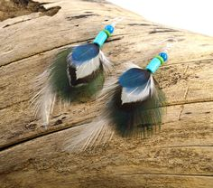Peacock feather earrings  Real feather earrings by FeathersnThingz
