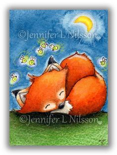 ACEO Print - Sweet Dreams Little Fox - whimsical night fireflies