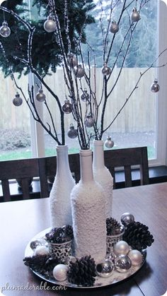 frosted bottles - pretty craft for next winter