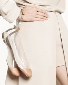 Gorgeous ~ love these Chloe nude and perspex ballet flats