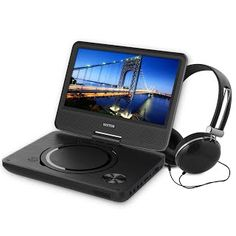 """Features & Benefits"" WONNIE New 9.5 Inch Portable DVD Player with Swivel Screen, USB / SD Slot Perfect Gift for Kids ( Black )"