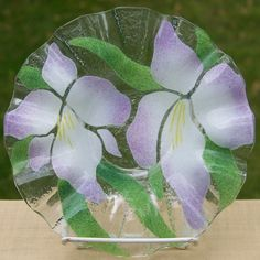 Sydenstricker Art Glass Floral Ruffled Bowl - Purple and White Irises