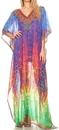 HUE Short Caftan Rayon//Spandex Blend Striped Print