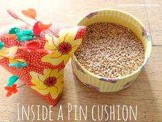 what is inside a pin cushion- my favorite is walnut pieces!