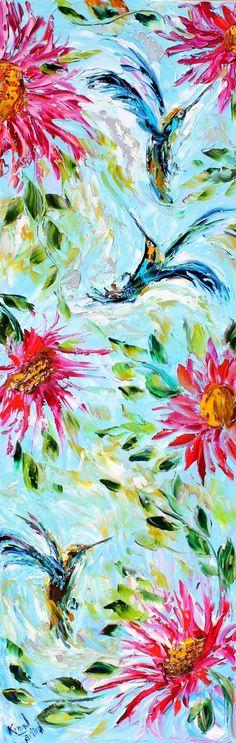 Original oil painting Hummingbirds in Motion by Karensfineart