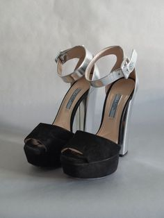 7f87e1341dee Prada High Heel Platform w  Black Suede Open-Toe   Silver Lame Heel US 6   fashion  clothing  shoes  accessories  womensshoes  heels  ad (ebay link)