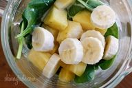 A tropical green smoothie made with pineapple, shredded coconut and bananas, then blended with spinach, light coconut milk and Greek yogurt. High in Vitamin A, B-6, C, Manganese and fiber