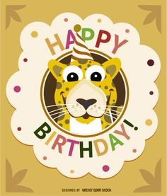 Invitation card to a birthday celebration for children with a smiling cartoon leopard wearing a party hat inside a circle festive ornament. Kids will love this. High quality JPG included. Under Commons 4.0. Attribution License.