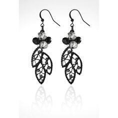 Avenue Black Leaf Cluster Drop Earrings ($10) ❤ liked on Polyvore featuring jewelry, earrings, black, plus size, black rhinestone jewelry, leaf earrings, hook earrings, fake jewelry and leaf jewelry