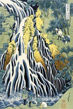 "Items similar to Japanese Ukiyo-e Woodblock print, Katsushika Hokusai, ""The Falling Mist Waterfall at Mount Kurokami in Shimotsuke Province"" on Etsy Japanese Drawings, Japanese Prints, Japon Illustration, Botanical Illustration, Art Asiatique, Katsushika Hokusai, Art Japonais, Poster Prints, Art Prints"