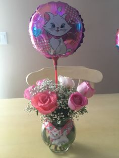 I made 20 centerpieces for my daughters Marie theme Birthday party. I purchased the small flower vases at my local thrift store. The ballon and sticker from AliExpress. The ribbon from Etsy and the flowers from farmers market. I hot glued the ribbon around the vase and where the ribbon overlapped I hot glued the sticker. I suggest ordering with time for AliExpress as they do take a while for shipping. In all the cost was $50 with materials and flowers included.