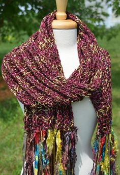 Mulberry  Wide Long Knit with handmade by RockPaperScissorsEtc, $52.00 Love the beautiful colors, fibers and textures in this!!