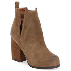 "Jeffrey Campbell 'Oshea' Bootie, 4"" heel ($165) ❤ liked on Polyvore featuring shoes, boots, ankle booties, ankle boots, taupe distressed suede, chunky heel booties, tall boots, tall suede boots and high heel booties"
