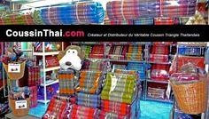 CoussinThai.com Créateur et Distributeur du Véritable Coussin Triangle Thaïlandais. Frais de port inclus. CoussinThai.com Designer and Distributor of the Original Thai Triangle Cushion. Shipping included.
