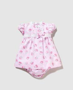 Vestido de bebé niña Dulces rosa con estampado floral