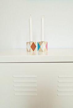 geometrische Kerzenständer aus Holz // home decor: wooden candlestand via DaWanda.com