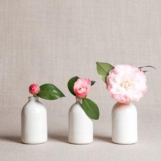 White Minimalist Bud Vases // Set of Three by honeycombstudio