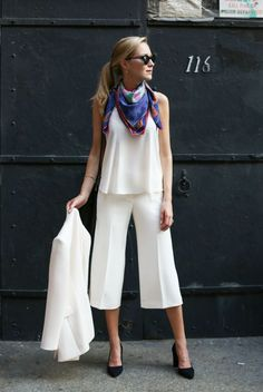 street style - street chic style - summer outfits - casual outfits - business casual - work outfits - office wear - spring / summer - colorful scarf + white cami top + white culottes + white blazer + black suede pumps + black sunglasses
