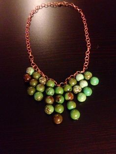 Green bead necklase  on Etsy, $16.50