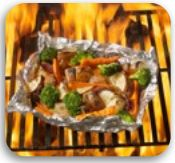 GRILLED VEGETABLE PARCELS - potatoes, carrots  broccoli florets  white onion, sliced  butter  1 tsp Sunset Seasoned Salt   1 tsp Oh! So Garlic  Pepper   Prepare two large rectangles of heavy duty aluminum foil.  In the centre of each place ½ of the sliced vegetables.  Dot with butter and season with Sunset Seasoned Salt, Oh! So Garlic and pepper.  Fold and seal foil packets.  Preheat grill to medium placing vegetable packets on grill.  Cook with lid closed for 20 to 30 minutes or until tender. Side Recipes, Meat Recipes, Gourmet Recipes, Cooking Recipes, Tin Foil Dinners, Foil Pack Meals, Hobo Dinners, Grilled Foil Packets, Grilled Vegetables