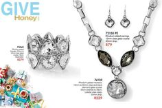 Rhodium plated Necklace with matching earrings & beautiful bracelet with clear glass crystals.