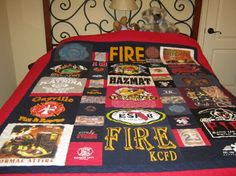 Firefighter quilt- I want to do this Firefighter Pictures, Firefighter Quotes, Firefighter Gifts, Fire Dept, Fire Department, Shirt Quilts, Fire Fighters, Firefighting, Bedroom Themes