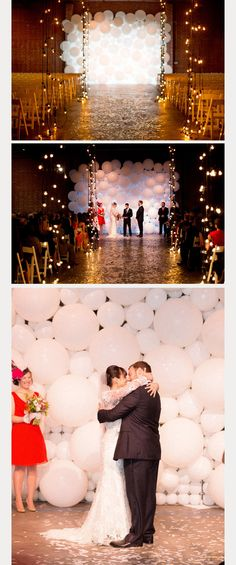 how unique is this white balloon wedding ceremony backdrop?! ~  we ❤ this! moncheribridals.com
