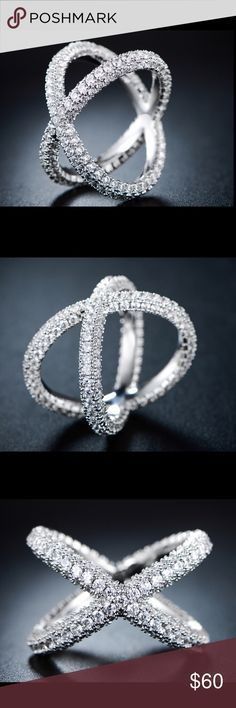 """18K White Gold Plated CZ X-Shape Ring [Size 8] 18K White Gold Plated Cubic Zirconia Three Row X Shape Ring - Size 8 - Three Sided Eternity Band - Italian Cut Crystals on Each Side - Metal: Brass - Band Width: 4mm - Cubic Zirconia Stones - Dimensions 0.3"""" (W) x 0.7"""" (L) Jewelry Rings"""