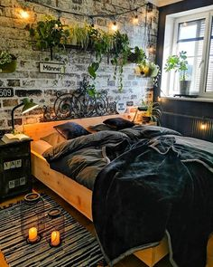 home ideas bedroom \ home ideas . home ideas on a budget . home ideas dream . home ideas diy . home ideas living room . home ideas decoration . home ideas kitchen . home ideas bedroom Dream Rooms, Dream Bedroom, Small Room Bedroom, Bedroom Ideas For Small Rooms Diy, Brick Wall Bedroom, Cool Bedroom Ideas, Exposed Brick Bedroom, Dark Cozy Bedroom, Woodsy Bedroom