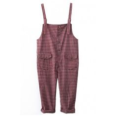 Vintage Gingham Pattern Varsity Style Overalls with Double Pockets (1.485 RUB) ❤ liked on Polyvore featuring jumpsuits, playsuit jumpsuit, vintage jumpsuit, jumpsuits & rompers, jump suit and vintage overalls