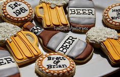 Hubby would love these beer cookies AND the real thing! Royal Icing Cookies, Cupcake Cookies, Sugar Cookies, Cookie Favors, Beer Cookies, Beer Tasting Parties, Cakes For Men, Beer Recipes, Birthday Cookies