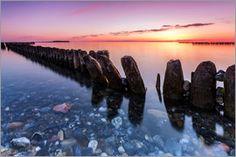Frank Herrmann - Sonnenuntergang am Meer mit Buhnen