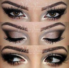 glittery brown smokey eye