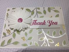 Springtime Foils DSP coloured with Old Olive Stampin Blends. With Daisy Punch. Stampin Up.