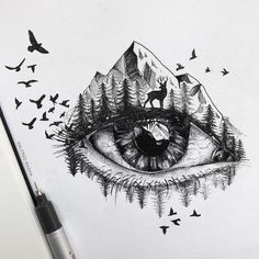 Striking Pen and Ink Drawings Illustrate the Human Connection to Nature - Pen and ink drawings by Alfred Basha // sketchbook drawings - Sketchbook Drawings, Cool Art Drawings, Art Sketches, Easy Drawings, Drawing Ideas, Unique Drawings, Realistic Drawings, Kawaii Drawings, Beautiful Drawings
