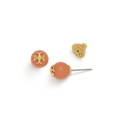 Tory Burch Crystal-pearl Coral Stud