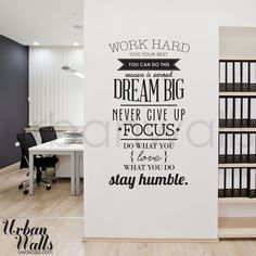 Vinyl Wall Sticker Decal Work Hard par urbanwalls sur Etsy, $49,00
