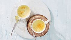 Our favorite vehicle for turmeric is this Ayurvedic-inspired golden latte, which is blended with ginger, cinnamon, honey, coconut oil, and unsweetened almond milk.