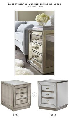 @wayfair Bassett Mirror Murano Chairside Chest $700 vs @overstock Currin Contemporary Mirrored 3-Drawer Nightstand $360