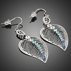 Platinum Plated Multicolour Leaves Drop Earring