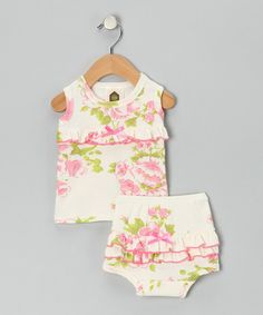 With its precious print, playful ruffles and soft cotton design, this outfit is the epitome of comfy cuteness. The set includes a cozy tank with ruffles across the front and a matching diaper cover with stretchy elastic at the waist to keep it snug.Includes tank and diaper cover100% organic cottonMachine wash; tumble dr...