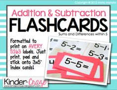 Flash Card Label Freebie - Kinder Craze