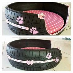 Old tire repurposed into dog bed