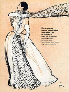 Christian Dior 1953 Back Pierre Balmain Evening Gown, René Gruau