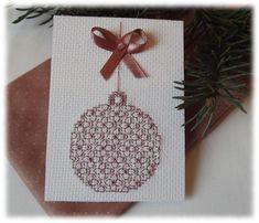 """Le Blog d'Aurèle: ATC """" Boule de Noël """" 4/4 Blackwork Embroidery, Cross Stitch Embroidery, Cross Stitch Patterns, Pocket Letters, Christmas Cross, Cross Stitching, Blog, Scrapbook, Lettering"""