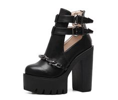 Buckle Ankle Boots, Ankle Shoes, Leather Ankle Boots, Women's Shoes, Punk Shoes, Gothic Heels, Gothic Boots, Dark Punk, Chunky High Heels
