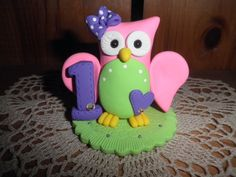 Owl Birthday Cake Toppers | Polymer Clay Owl-Babys First Birthday Cake Topper/Keepsake/Gift. $14 ...