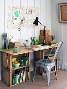 Wohnen build your own desk diy office wooden boxes plywood Water Pumps – All You Want To Know Articl Wooden Crate Furniture, Wood Crates, Diy Furniture, Furniture Design, Wooden Pallets, Wooden Boxes, Wooden Crates Crafts, Milk Crates, Unique Furniture